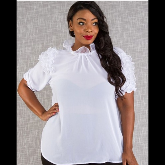 best selection of popular design best deals on Plus size white blouse with ruffles